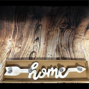 "Wall Art - Wooden ""Home"" wall, key, jewelry hooks."